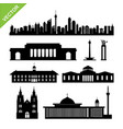indonesia jakarta landmark and skyline silhouettes vector image vector image