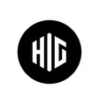 initial letter hic or hig logo hexagonal icon vector image vector image