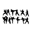 karate sport silhouettes vector image