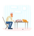 lonely old man playing chess with a ginger cat vector image vector image