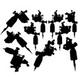lot black silhouette graphic tattoo machines vector image