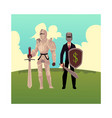 medievel and modern businessman knight in metal vector image vector image