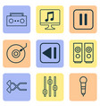 multimedia icons set with loudspeakers shuffle vector image vector image