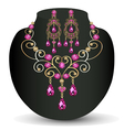 necklace with pink jewels and earrings vector image vector image