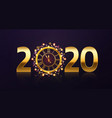 new year clock background golden 2020 numbers vector image