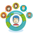 online community globe design vector image