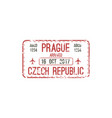 prague airport arrival immigration visa stamp vector image vector image