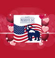 presidents day greeting card the elephant in the vector image vector image