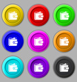 Purse icon sign symbol on nine round colourful vector image vector image