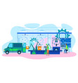 robotic factory production line futuristic cartoon vector image vector image