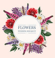 round wedding invitation frame with garden flowers vector image vector image