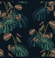 seamless pattern with tropical leaves and plants vector image vector image