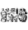 set black and white graffiti characters vector image vector image