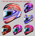 set of beautiful racing helmets vector image