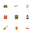 set of camping icons flat style symbols with vector image vector image