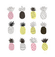 set of colorful abstract pineapples vector image