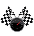 Speedometer and crossed flags
