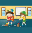 two boys sweeping classroom floor vector image vector image