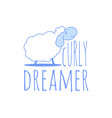 typography slogan with cute sheep and text curly vector image vector image