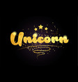 unicorn star golden color word text logo icon vector image vector image