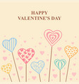 valentines decorative hearts on sticks card vector image