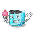 with ice cream ice cubes wiht mascot on above vector image