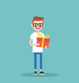 young happy nerd holding a bright gift box vector image vector image