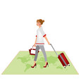 woman carrying a red suitcase vector image