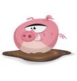 toon pig wash in pond bath vector image