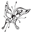 Abstract butterfly black and white lines vector image