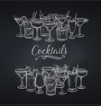 alcoholic cocklails banner chalkboard vector image vector image