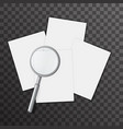 blank paper sheet page magnifying glass 3d vector image