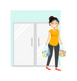 cheerful woman with buyings vector image