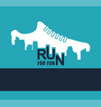 city marathon poster - running sport shoe and vector image vector image