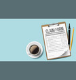 claim form medical office paperwork vector image vector image