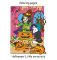 colorful halloween cute little witch cooks in vector image