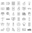 connection icons set outline style vector image vector image