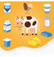 Cow and dairy products icons vector image vector image