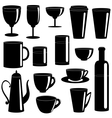 Cups and glasses silhouettes collection vector image vector image