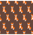 Cute fox seamless pattern on brown background vector image vector image