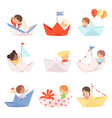 cute little boys and girls sailing on paper boats vector image