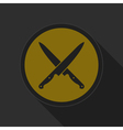 dark gray and yellow icon - crossed kitchen knives vector image