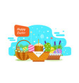 easter baskets with painted eggs flowers product vector image