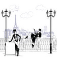 fashion girls in sketch-style in paris fashion vector image vector image