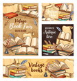 feather pen old book and ink sketch banners vector image vector image