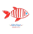 Felt pen childlike drawing of fish vector image vector image