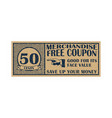 fifty cents coupon template discount coupon on 50 vector image vector image