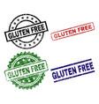 grunge textured gluten free stamp seals vector image vector image