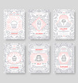 happy birtday party thin line brochure cards set vector image vector image