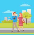 happy couple man and woman people walking together vector image vector image